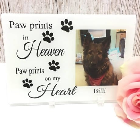 Personalised Pet Remembrance - Paw prints in heaven