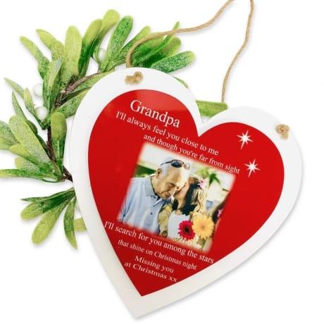 Personalised Deluxe  Wooden Heart Christmas Keepsake