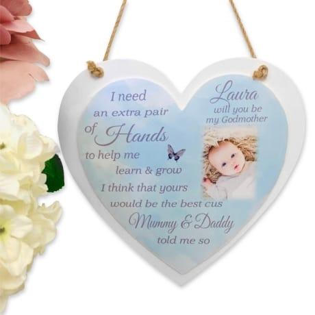 Personalised Deluxe  Wooden Heart Godparent Keepsake