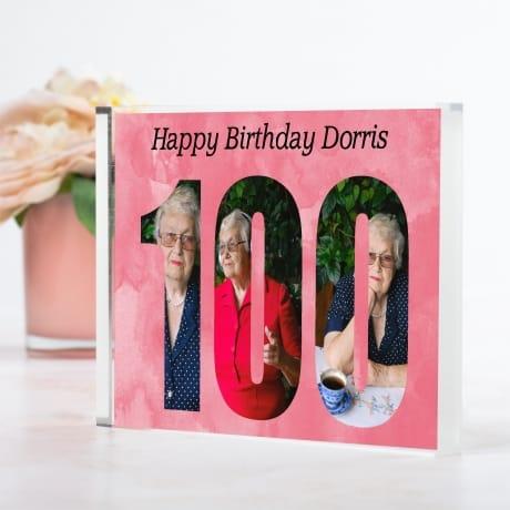 Personalised Photo Block  Gift - 100 Birthday