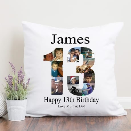 13th Birthday Photo Collage Cushion