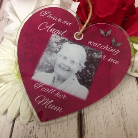 Personalised Large Acrylic Heart - Angel watching over me