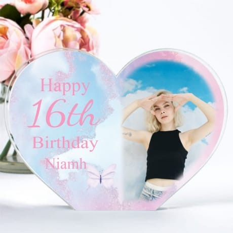 Personalised Acrylic Heart Photo Block - 16th