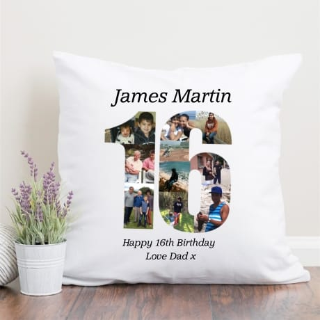 16 Birthday Photo Collage Cushion