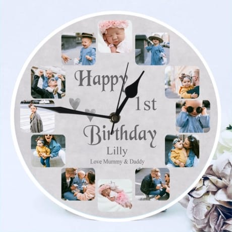 Personalised Clock - 12 Photo Birthday
