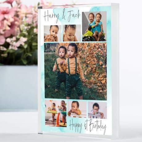 7 Photo 1st Birthday Block Collage