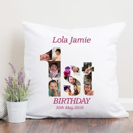 1st Birthday Photo Collage Cushion