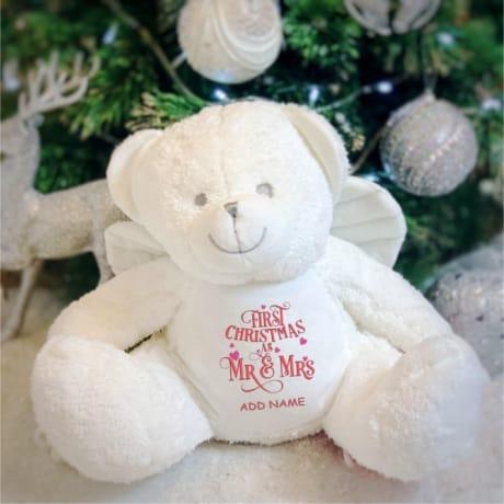 1st Christmas As Mr & Mrs Personalised Angel Bear