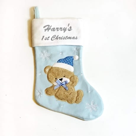 Glitter 1st Christmas Blue Teddy Stocking