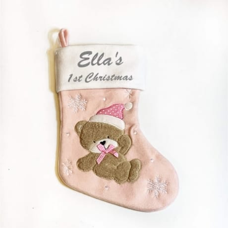 Glitter 1st Christmas Pink Teddy Stocking