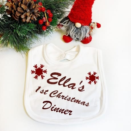 1st Christmas Dinner Bib White