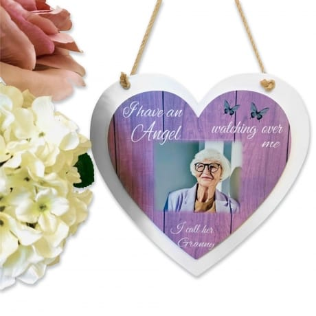 Personalised Deluxe Wooden Heart Angel Keepsake