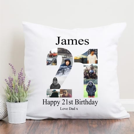 21 Birthday Photo Collage Cushion