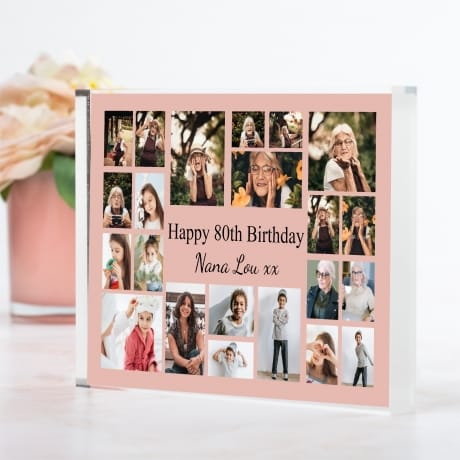 22 Photo Block Collage 80th Birthday