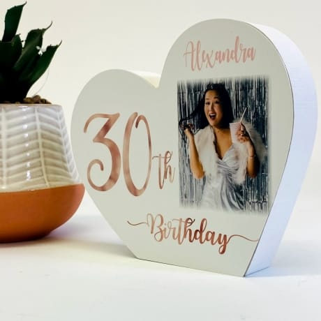 Personalised White Wooden Heart -30 Rose Gold