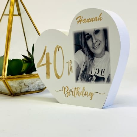 Personalised White Wooden Heart -40 Gold