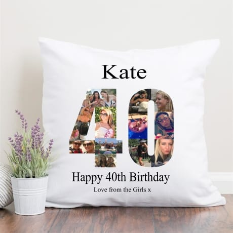 40 Birthday Photo Collage  Cushion