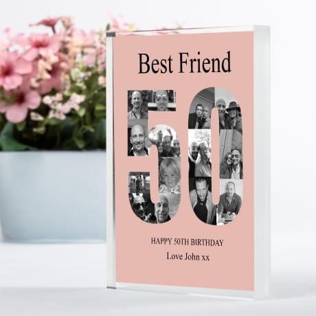 50 Birthday Photo Block Collage- Friend