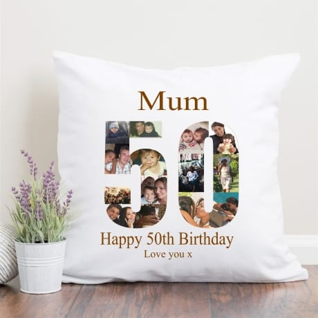 50 Birthday Photo Collage Cushion