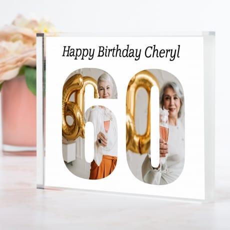 Personalised Photo Block Gift 60th Birthday