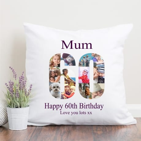 60 Birthday Photo Collage Cushion