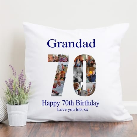 70 Birthday Photo Collage Cushion