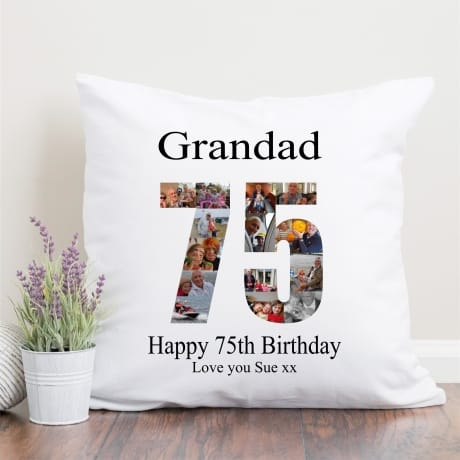 75 Birthday Photo Collage Cushion