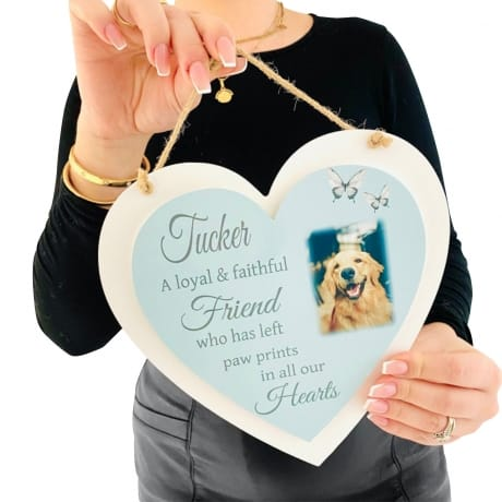 Personalised Deluxe Wooden Heart Pet Remembrance Keepsake