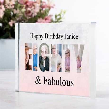 Eighty  Birthday Personalised Photo Block Collage