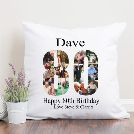 80 Birthday Photo Collage Cushion
