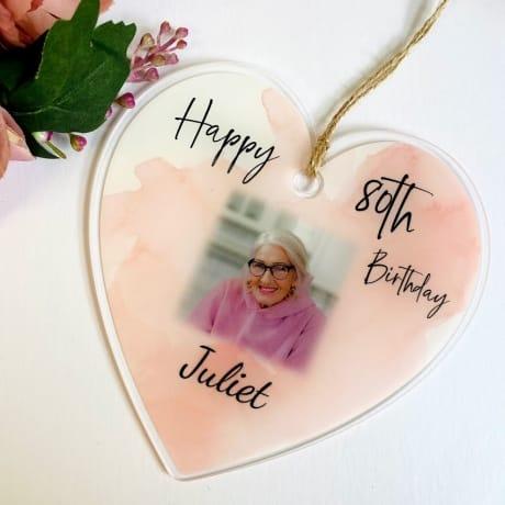 80th Birthday Hanging Heart