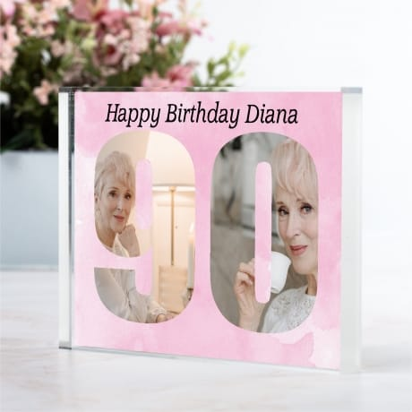 Personalised Photo Block  Gift - 90 Birthday