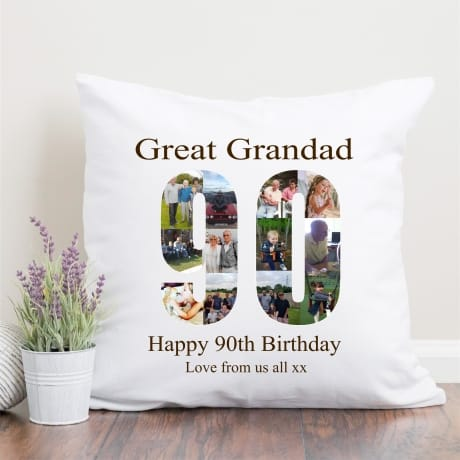 90 Birthday Photo Collage Cushion