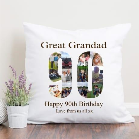 90 Birthday Photo Collage Cushion