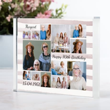 Age 70 Birthday Photo Block Collage