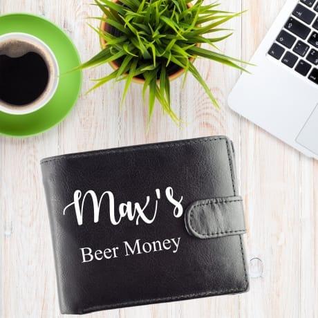 Personalised Black Wallet- Beer Money