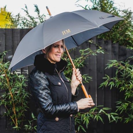 Personalised Luxury Grey Umbrella