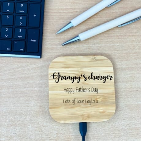 Personalised Wooden Charging Pad Design 2