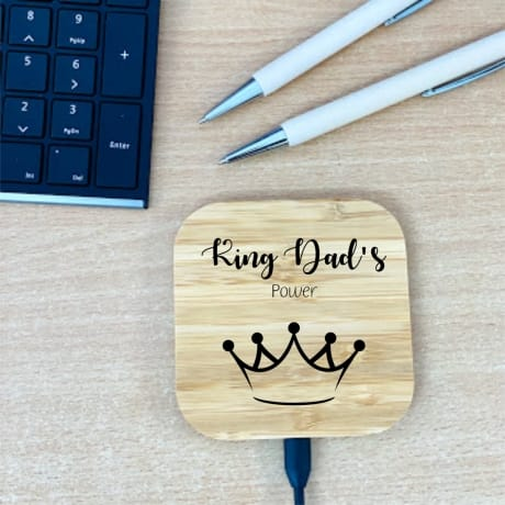 Personalised Wooden Charging Pad Design 3