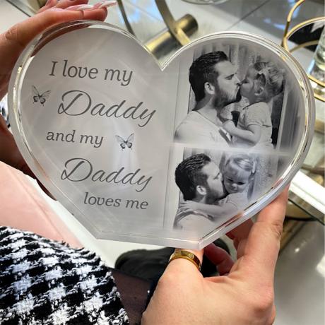 Personalised Acrylic Heart Photo Block - Love