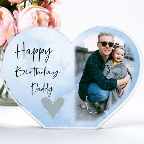 Personalised Acrylic Heart Birthday Photo Block