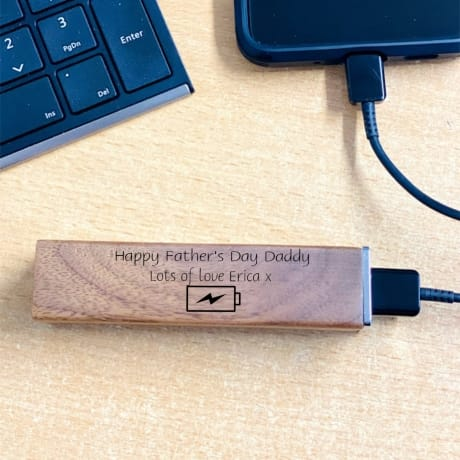 Personalised Wooden Power Bank Design 2