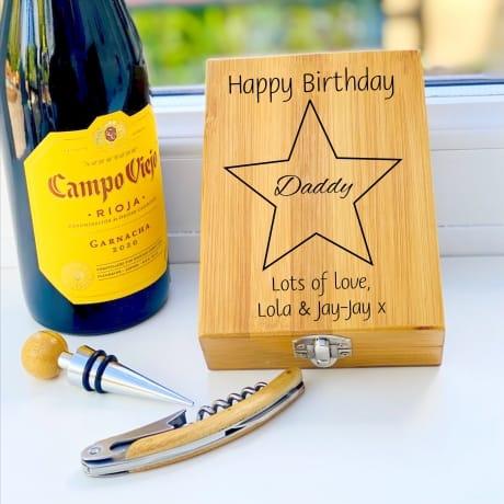 Personalised Wooden Wine Cork Gift Set Design 4
