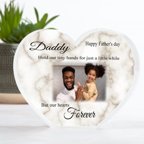 Personalised Acrylic Heart Father's Photo Block - tiny hands