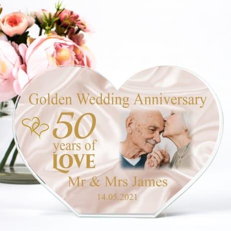 Personalised Acrylic Heart Photo Block - Golden Anniversary
