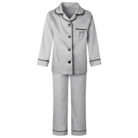 Personalised Grey Luxury Satin Kids Pyjamas
