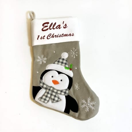 Glitter 1st Christmas Penguin Stocking