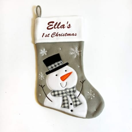 Glitter 1st Christmas Snowman Stocking