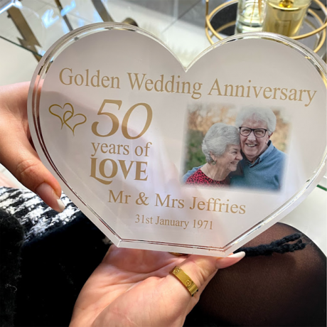 Personalised Acrylic Heart Photo Block - Golden Anniversary