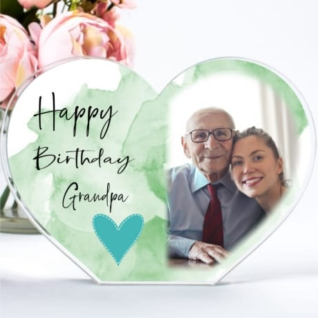 Personalised Acrylic Heart Birthday Photo Block